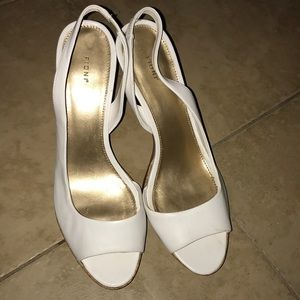 Fioni White Peep Toe High Heels size 8.5